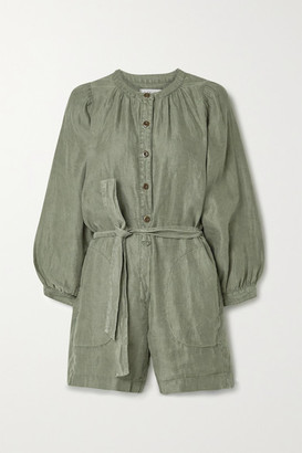 Alex Mill Belted Linen-twill Playsuit - Army green