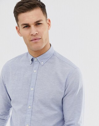 Jack and Jones Essentials slim fit linen mix shirt in light blue