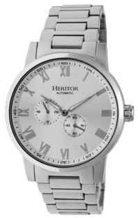 Heritor Automatic Romulus Silver Stainless Steel Watches 44mm