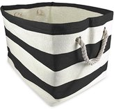 DII Woven Paper Textured Storage Basket, Collapsible & Convenient Storage Solution for Office, Bedroom, Closet, Toys, Laundry - Medium, Black Rugby Stripe