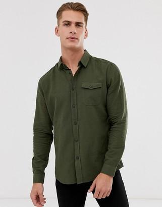 Burton Menswear linen shirt in khaki-Green