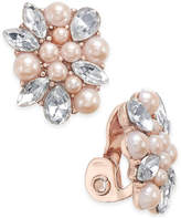 Charter Club Rose Gold-Tone Crystal & Pink Imitation Pearl Clip-On Button Earrings, Only at Macy's