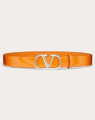 Valentino Vlogo Signature Patent Leather Belt 30mm Women Orange 100% Pelle Di Vitello - Bos Taurus 75