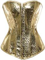 Kranchungel Women's Steampunk Shimmer PU Leather Strapless Overbust Corset Top Small