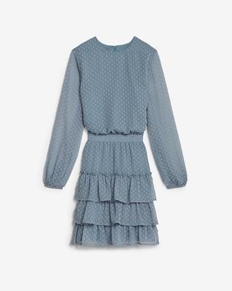 Express Clip Dot Tiered Smocked Waist Dress