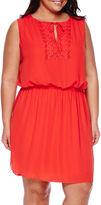 Bisou Bisou Sleeveless Crochet Blouson Dress - Plus