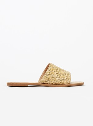 Evans EXTRA WIDE FIT Nude Weave Slip On Sandals