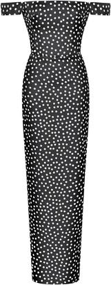 Rasario Polka-Dot Silk Chiffon Off-The-Shoulder Gown