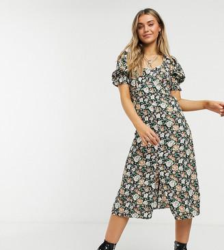 Reclaimed Vintage inspired puff sleeve midi dress in vintage floral
