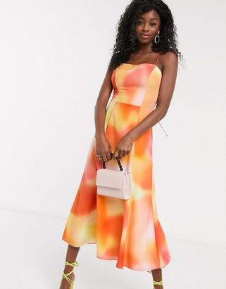 C/Meo tie dye midi slip dress in vermillion