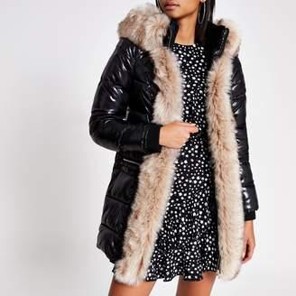 River Island Womens Black hooded padded fur trim coat with belt
