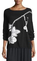 Joan Vass Sequined Orchid Intarsia Sweater, Black/White, Plus Size