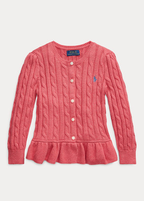 Ralph Lauren Cable Peplum Cotton Cardigan