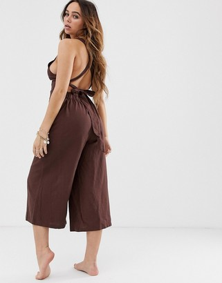 Charlie Holiday Baron beach jumpsuit in brown