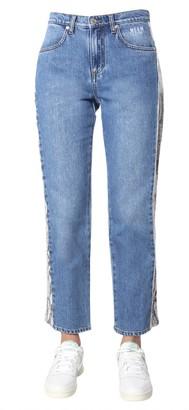 MSGM Snake Effect Side Panel Jeans