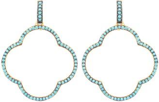Latelita Open Clover Large Drop Earrings Gold Turquoise Blue