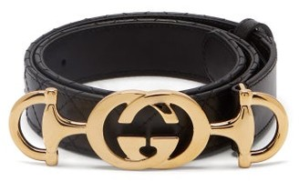 Gucci Horsebit-buckle Quilted Leather Belt - Womens - Black