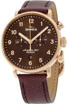 Shinola Women's 43mm Burgundy Leather Band Steel Case Quartz Watch 20044135