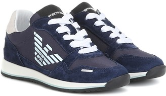 Emporio Armani Kids Logo suede-trimmed sneakers