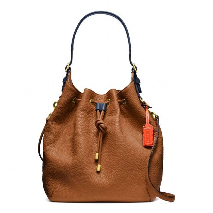 Coach Soft Legacy Drawstring Shoulder Bag In Pebbled Leather