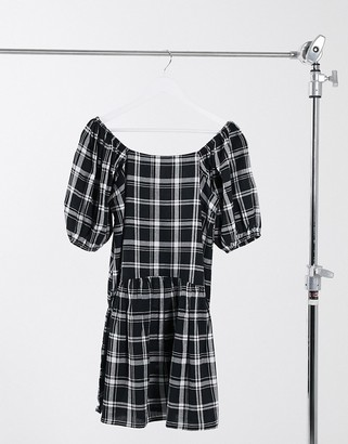 Violet Romance puff sleeve drop waist mini dress in monochrome plaid