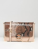 Dune Blush & Faux Snake Cross Body Bag