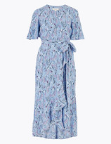 Per Una UsMarks and Spencer Crepe V-Neck Midi Wrap Dress