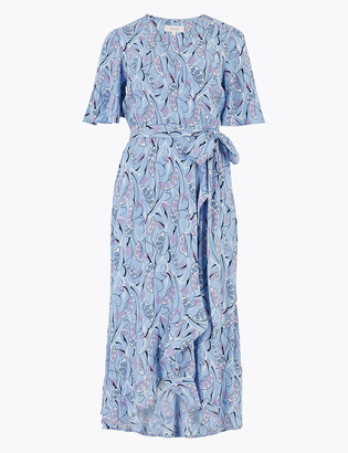 Marks and Spencer Crepe V-Neck Midi Wrap Dress