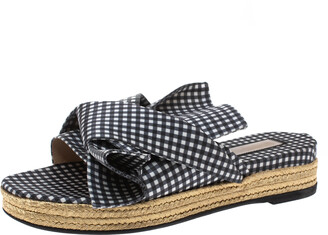 N°21 N21 Black White/Black Checkered Satin Gingham Flat Slide Sandals Size 37.5