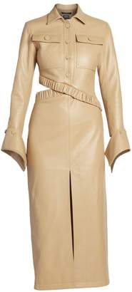 Rokh Leather Gathered Waist Dress