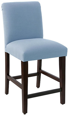 One Kings Lane Erin Pleated Counter Stool - French Blue Linen