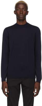 BOSS Navy Bjarno Mock Neck Sweater