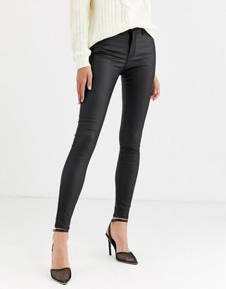 Vero Moda coated skinny jeans in black
