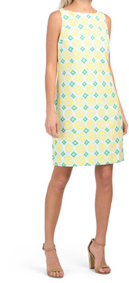 Lemon Printed Crepe Shift Dress