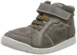 Clarks Girls' Emery Beat T Hi-Top Trainers, Brown Leather