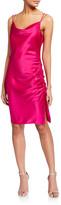 Parker Black Mandy Cowl-Neck Ruched Satin Dress