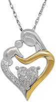 Macy's Diamond Accent Mom and Infant Pendant Necklace in Sterling Silver and 14k Gold