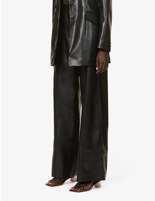 Nanushka Cleo wide-leg high-rise vegan-leather trousers