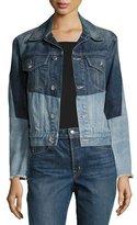 Helmut Lang Patchwork Two-Tone Denim Jacket, Blue