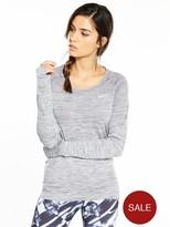Nike Running Dri-FIT Knit Long Sleeve Top - Grey Heather