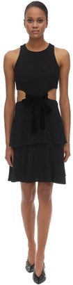 Proenza Schouler Acetate Blend Crepe Mini Dress W/cut Out