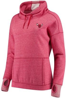 Antigua Women's Heathered Red Chicago Bulls Snap Cowl Neck Pullover Sweatshirt