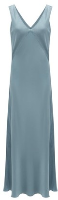 ASCENO The Bordeaux V-neck Silk Slip Dress - Grey