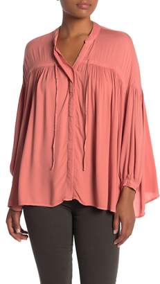 Young Fabulous & Broke Yfb By Tress 3/4 Sleeve Button Front Swing Top