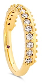 Hayley Paige for Hearts on Fire 18K Yellow Gold Sloane Picot All In A Row Band with Diamonds & Pink Sapphire