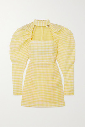 Rotate by Birger Christensen Kaya Cutout Gingham Cotton-blend Seersucker Mini Dress - Pastel yellow