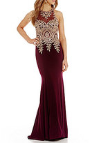 Xscape Evenings Illusion Neck Embroidered Lace Gown