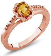 Gem Stone King 0.42 Ct Oval Yellow Citrine White Topaz 14K Rose Gold Ring