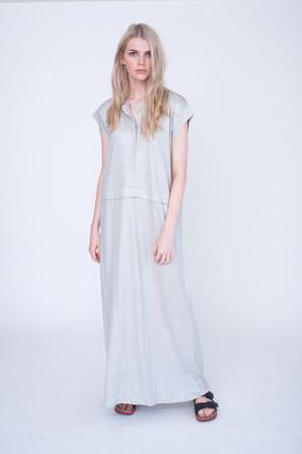 Beaumont Organic Sarah Linen Maxi Dress - S - White/Silver