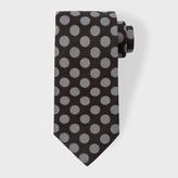 Paul Smith Men's Black And Grey Polka Dot Silk Tie